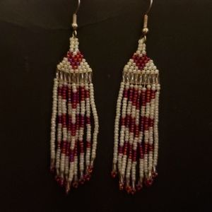 Red and white glass beaded earrings with red heart